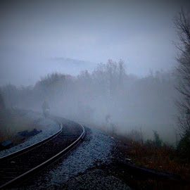 The Walk by Paul Mays - Transportation Railway Tracks ( fog, track, train, ghost, kentucky )