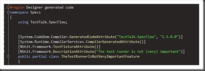 generated nunit code