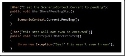 step defintions with pending