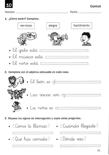 4th Grade Spanish Foreign Language Worksheets