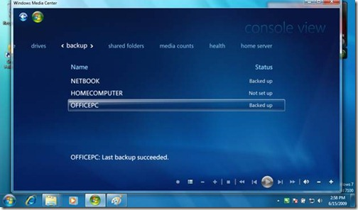 Windows 7 WHS Console View