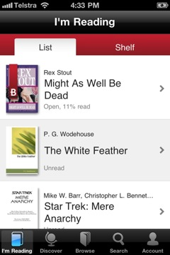 Borders reader in library view