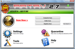 ARTAV Antivirus 2.7 Menu