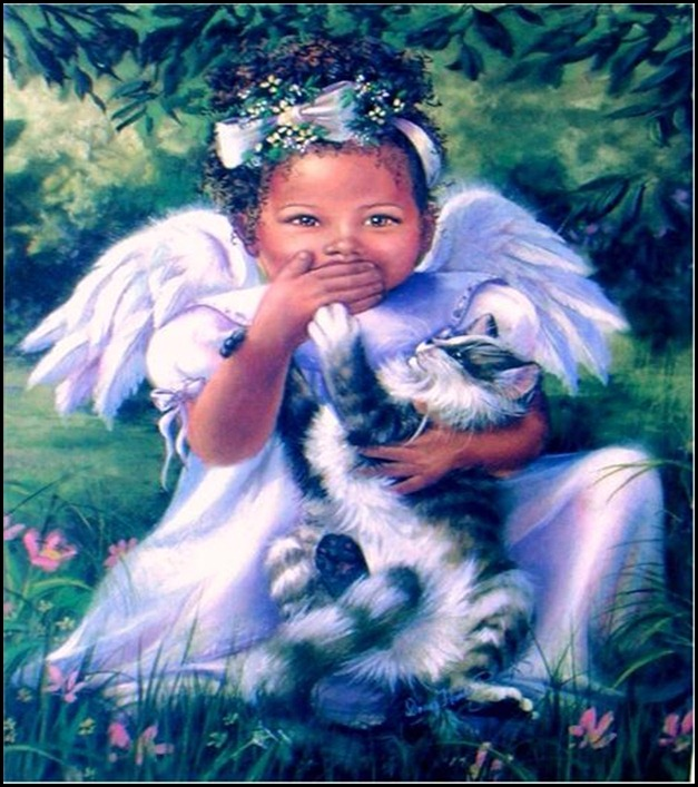 blk angel with cat