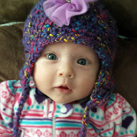 new hat by Kaci Rendahl - Novices Only Portraits & People ( happy baby, infant photography, infant, baby girl, baby )