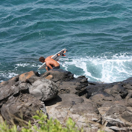 One Way Down by Ted Merrifield - Sports & Fitness Surfing ( cool, climb, do it, maui, ocean, pic, fun, surf, rocks, hawaii )