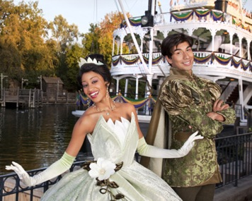 "PRINCESS TIANA AND PRINCE NAVEEN -- Starting Friday, Nov. 6. Disneyland guests will be treated to appearances by Princess Tiana, star of the upcoming Walt Disney Pictures animated feature film ""The Princess and the Frog."" Princess Tiana, Prince Naveen and other characters from the motion picture will star in ""Tiana's Showboat Jubilee!,"" a rousing, colorful procession with a jazz-filled Mardi Gras theme.  The good times will roll as festively dressed, bead-tossing revelers lead Disneyland guests from New Orleans Square to the Mark Twain Riverboat dock. The party moves onboard as paddlewheels begin turning and the Mark Twain makes its way along the river to singing, dancing and all that jazz. (Paul Hiffmeyer/Disneyland)"
