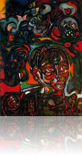 Retrato de un adolescente en un bosque americano_ surrealismo retrato