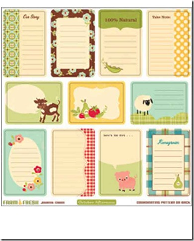 Die Cut October Afternoon Farm fresh Journal Cards
