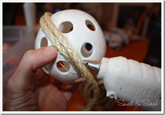 gluing sisal ball