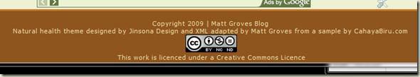 CC Lic at the bottom of Matt's Blog