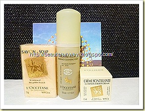L'occitance olive body cream, cleansing foam  , bar soap set