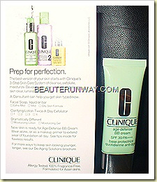CLINIQUE 3 Step Regimen and Age Defense BB Cream