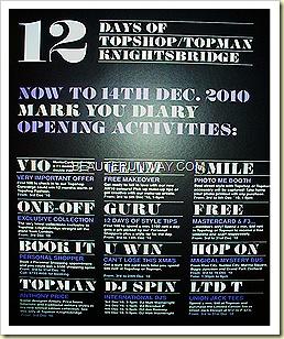 Topshop Topman Knightsbridge 12 days of celebration