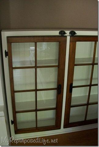 windows made into cabinet doors