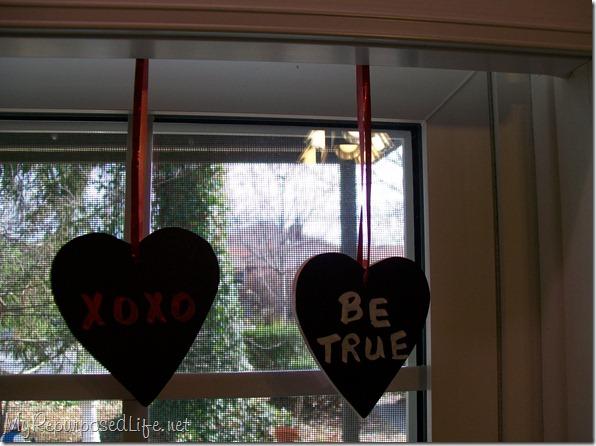 wooden chalkboard heart ornaments