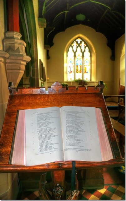 bible on outward facing reading desk