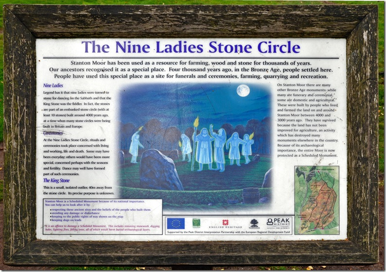 nine ladies stone circle displayboard
