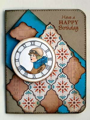 10810  A Vintage lady card stitchy