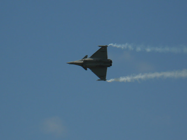 French Air Force RAFALE fighter aircraft aerobatics during airshow