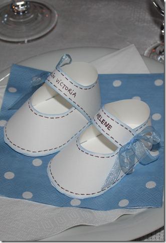 barnedåp inspirasjon bordkort babysko papir