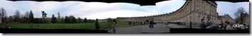 Panoramic picture of the Royal Crescent, completed in 1767. Nice view facing down the Victoria park.