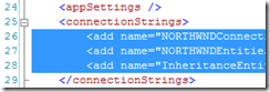 remove connection strings from web.config