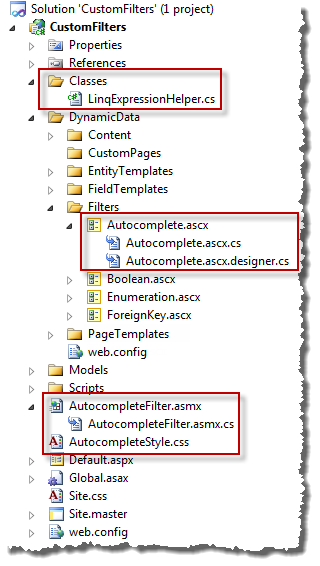 Files Added to Custom Filter project