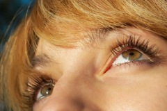 beautiful blond girl's eyes closeup. selective focus