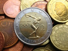 coins in close up_A special 2 euro coin from the Olympic games in Greece