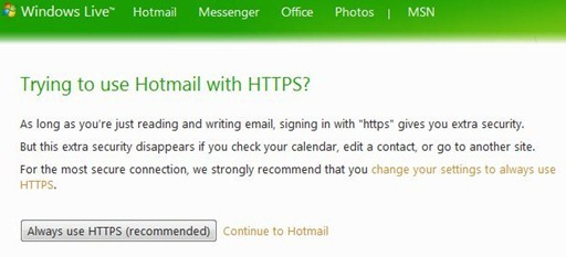 Hotmail SSL
