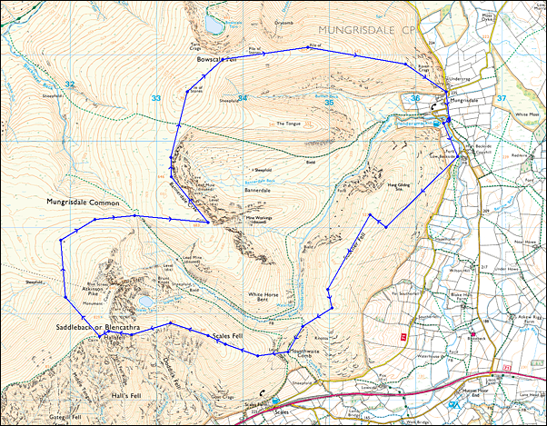Blencathra Loop (16km) Map