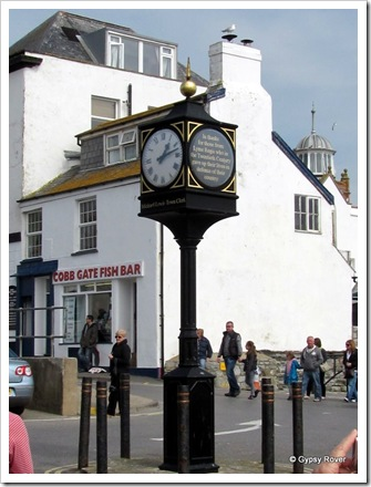 Memorial clock to Lyme Regis people who died in wars during the 20th C.