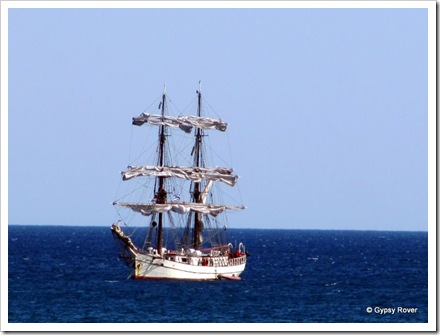 This beautiful sailing ship moored off the coast at Penzance.