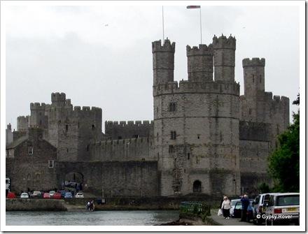 Caernarfon castle's many turret's.