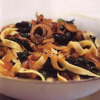 Pasta with Caramelized Onions and Bitter Greens