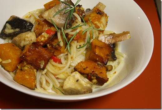 Pumpkin and mushrrom pasta