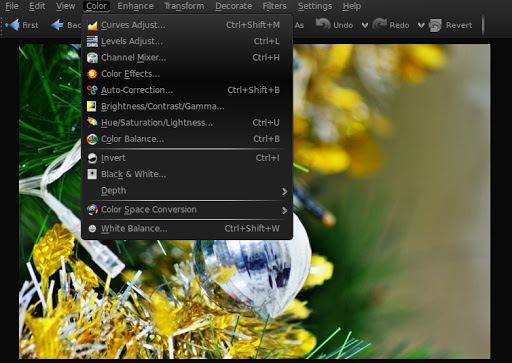 "There is a full gamut of color adjustment and enhancement tools availabel in the ""Color"" menu to apply to any selected="