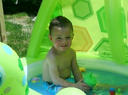 Aidan in pool