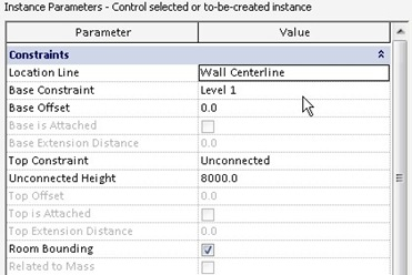 Revit wall instance parameters