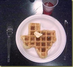 Not my photo - My photo was lost when I drove off with my camera phone on the roof of my car...  But, this is exactly what my Texas Waffle looked like!