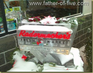 Radermacher's Ice Sclupture - It's a grocery cart made of ice!