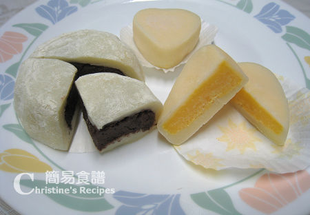 冰皮豆沙月餅 Ice-skin Mooncakes with Red Bean Paste Fillings