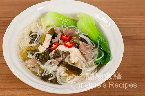 雪菜肉絲雞絲湯米粉 Shredded pork with Salted Vegetables Rice Noodle Soupt02