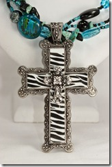 Lg Ornate zebra cross pendant