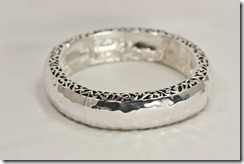 Lg Hammered Silver Stretch Bracelet