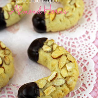 Chocolate Dipped Almond Horn Cookies
