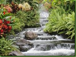 Uma série de cascatas ladeadas de flores.