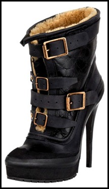 Burberry Prorsum Shearling Boot With Buckles