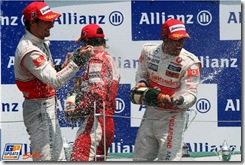 Race winner Lewis Hamilton (GBR) McLaren on the podium with Jenson Button (GBR) McLaren and Fernando Alonso (ESP) Ferrari. 